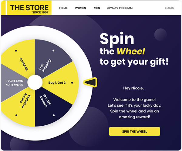 A Prize Wheel is ideal for mobile apps and for in-store devices as well.