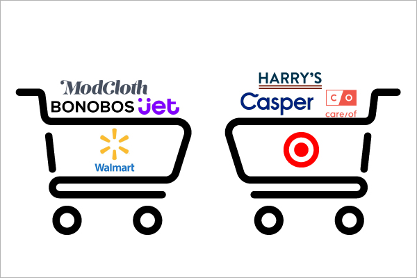 modcloth, bonobos and jet logos in a walmart shopping cart, harry's, casper, and care/of in target shopping cart. DTC brands impact traditional retail