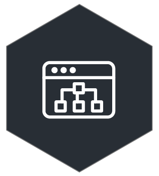 icon of an application screen with an organizational system with three squares connected to another singular square above them