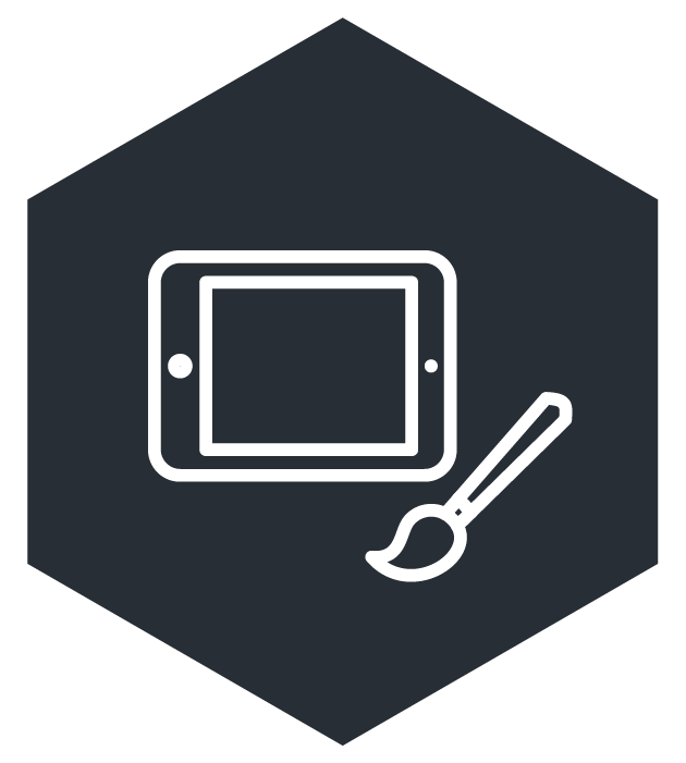 icon of a tablet and a paintbrush