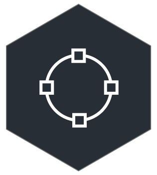 circle with squares at top bottom and sides symbolizing all the different softwares integrated to RPP