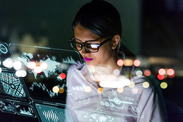 woman looking down with Artificial Intelligence computer glass screen in front