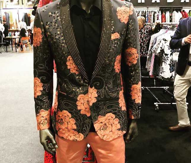 Mannequin with floral suit.