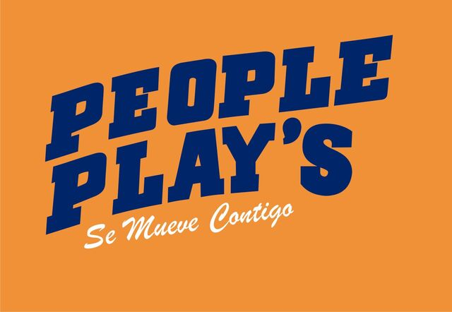 PEOPLE PLAY'S logotype in wavy bold sports font, with Spanish subtext